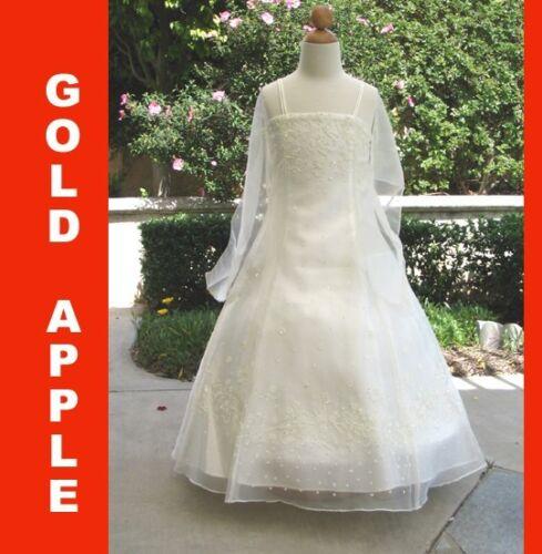Girl Wedding Ivory,Sz: 4,10,12,14,16 Occasion//Pageant Girls Dress Recital