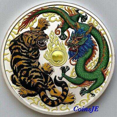 Australia 2018 $2 DRAGON /& TIGER Gold 1 oz Silver 4-Metal Ennobling Coin