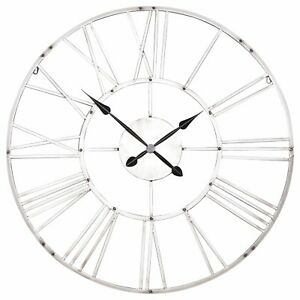 Large-92cm-Vintage-Silver-Effect-Metal-Roman-Numeral-Wall-Clock-Limited-Qty