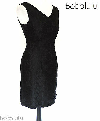 Sexy BLACK LACE Shift DRESS LBD 50s 60s VINTAGE Style COCKTAIL Party ROMANTIC 12