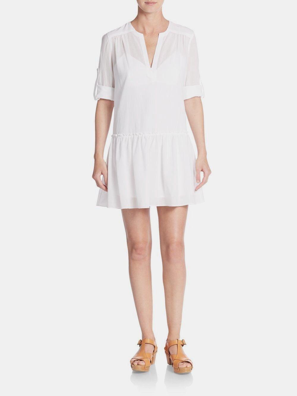 NWT Bcbg maxazria White Cotton Gauze Peasant bohemian Dress, size 6, Msrp 198.00