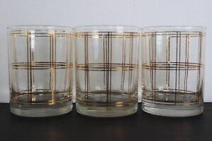 Vintage-Georges-Briard-Set-of-3-Window-Pane-Pattern-Drinking-Glass-22KT-Gold