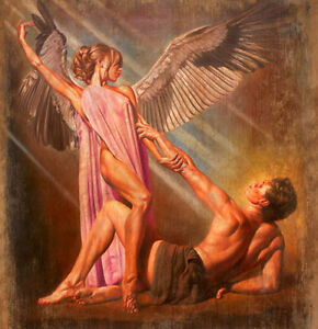 Oil Painting Nice Young Angel Girl With Young Strong Man Follow Me