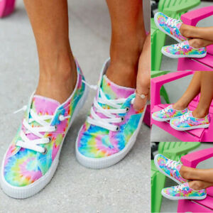 Women-Casual-Pumps-Shoes-Tie-Dye-Rainbow-Flats-Lace-Up-Ladies-Trainers-Loafers