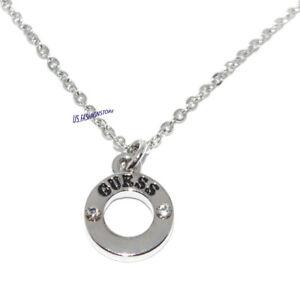 GUESS Kette Necklace Halskette Anhänger Silber Logo Strass