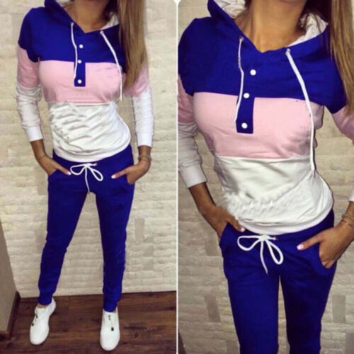 Damen Trainingsanzug Jogginganzug Kapuze Pullover Hose Sportanzug Hausanzug 2tlg