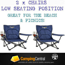 2 x OZTRAIL FESTIVAL CHAIR Folding Camping Picnic Beach Low Ground Concert Chair