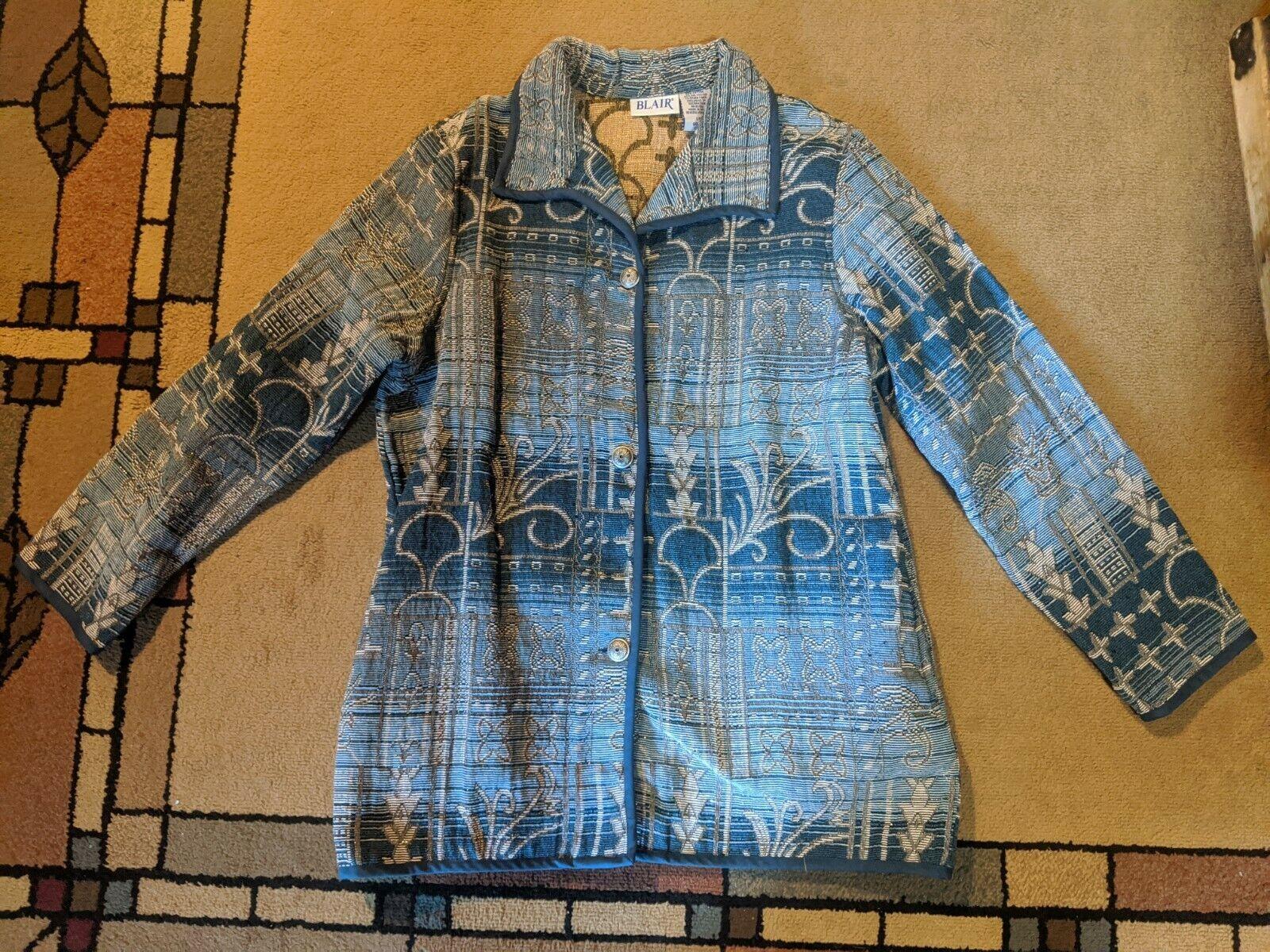 Blair Womens Blue Geometric Blazer Coat Jacket Buttons Collared Large L EUC!