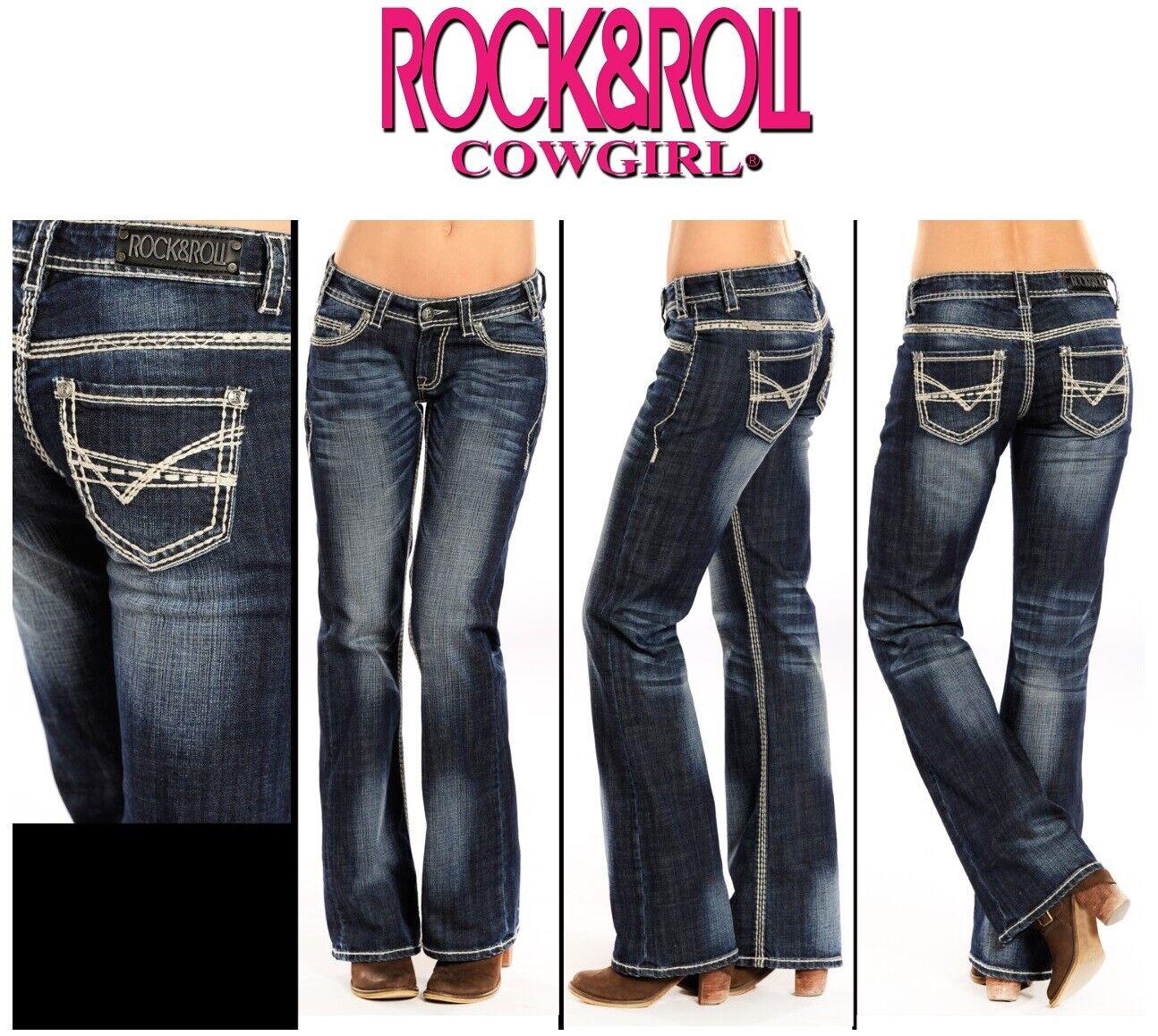 Rock & N Roll Cowgirl Femme Lourd Riding Stiefel Cut Vintage Jeans W7-9516
