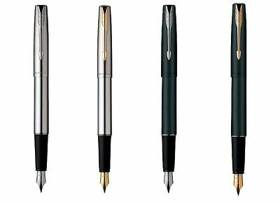 Parker Frontier Matte Black Steel CT GT Chrome / Gold Trim Ink Fountain Pen New