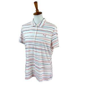 Puma Women's Power Cool Dry Cell Short Sleeve White Stripe NWT Golf Polo Top XL
