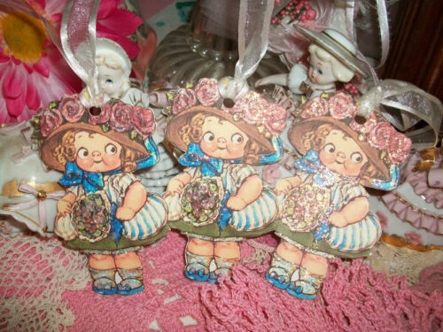 3 Adorable Dolly Dingle Little Girl Handmade Gift Tag Ornaments Glittered