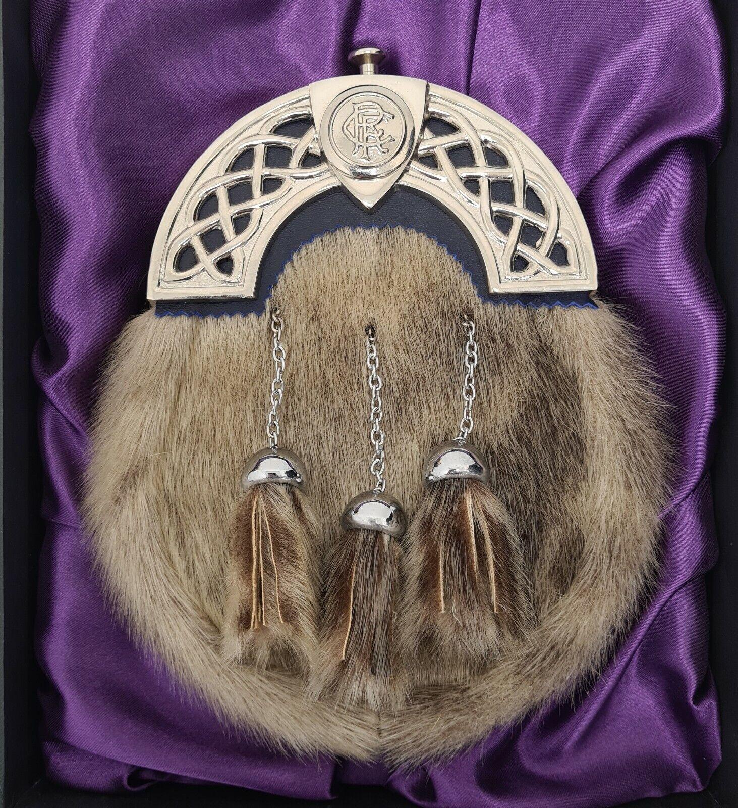 Ex Display Chrome Rangers Cantle Natural Seal Kilt Sporran & Chains Gift Boxed