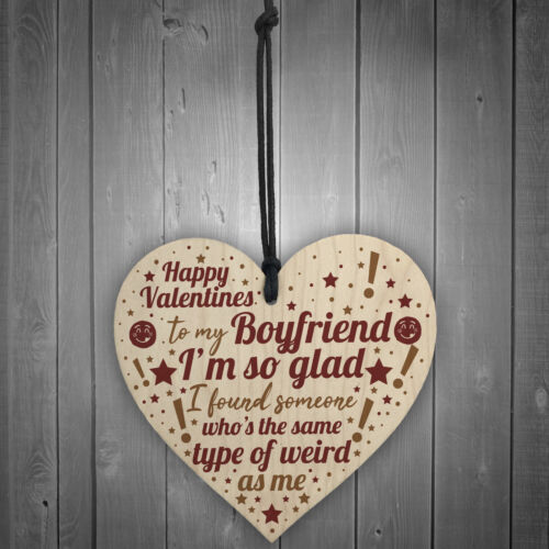 Novelty Valentines Gift For Boyfriend Gift For Him Wooden Heart Plaque Gift Idea