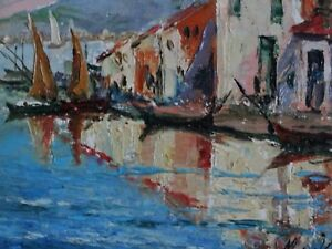 French-Cote-D-039-Azur-Impressionism-Oil-Painting-Seascape-Signed