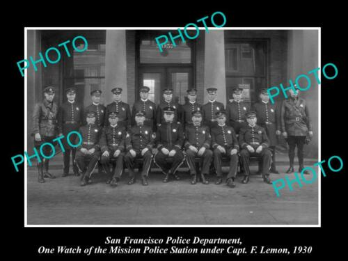 OLD LARGE HISTORIC PHOTO OF SAN FRANCISCO POLICE, MISSION POLICE STATION 1930