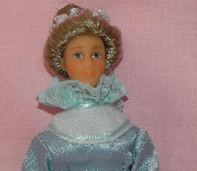 Dollhouse Miniature Mother Doll Victorian Vinyl Blue Dress  1:12