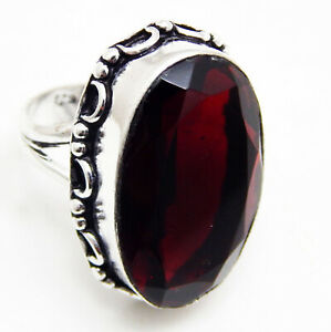 Garnet-Quartz-925-Sterling-Silver-Plated-Handmade-Jewellery-Ring-UK-Size-O