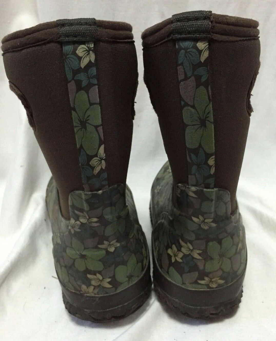 Bogs 6 Snow Rain Boots Women's 6 Bogs Brown Hibiscus Floral Waterproof Insulated Shoes a3162a