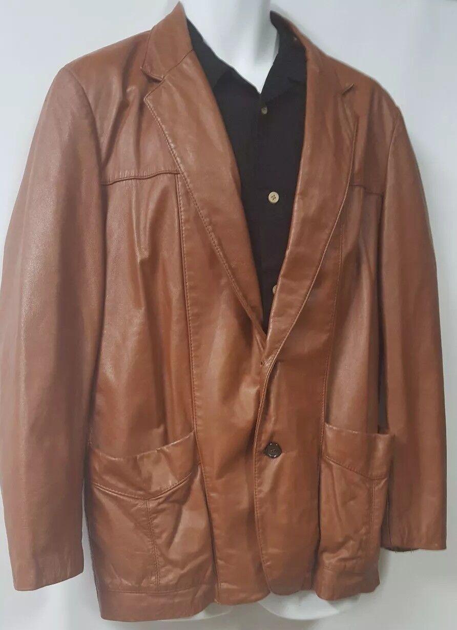 SILTON  Brown Leather 70s  Blazer Sport Coat Siz… - image 8