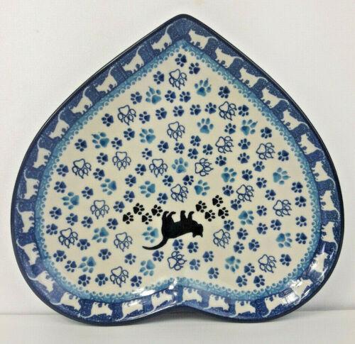 Servierplatte Snackteller Teller HERZ KATZE Bunzlauer Keramik Polish Pottery