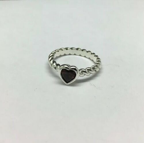 James Avery Sterling Silver Twisted Wire Heart Garnet Ring Size 5 Ebay