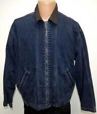 vtg Levi's DARK BLUE Full Zipper Jean Jacket Oversize S/M BLACK TAB 90s Denim