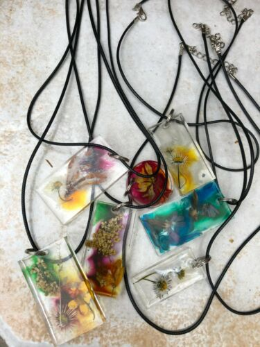 English Wildflower Resin Necklace Pendant Daisy Honeysuckle Alcohol Ink Choose