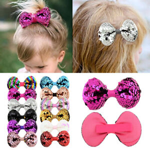 1-10pcs-Large-Girls-Kids-Glitter-Sequin-Bow-Rainbow-Bowknot-Hair-Clips-Hairpins