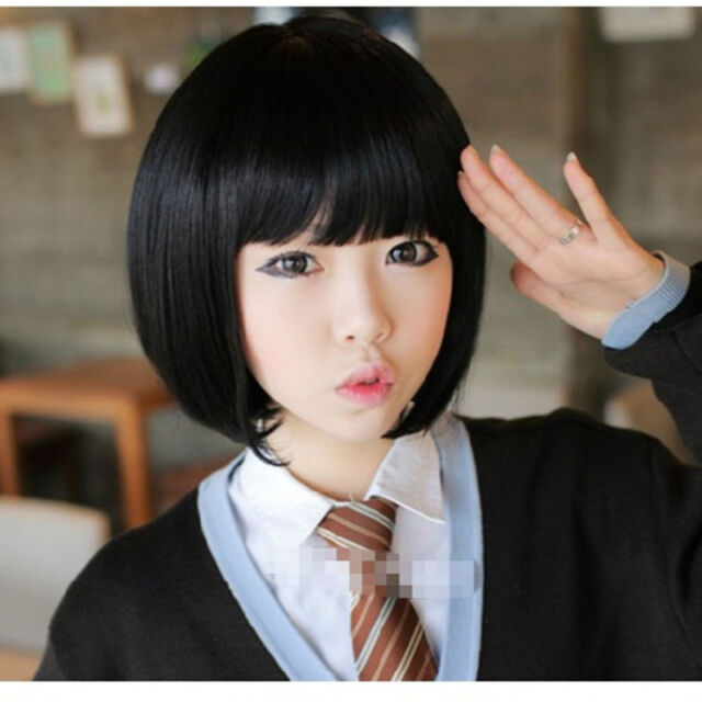 cheap new bob style black wig cosplay/disco party short straight hair full wigs