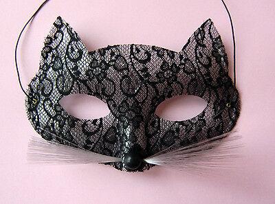 Raffinierte Katzen-Maske mit Spitzen-Design  -venezianisch  Karneval, Maskenball