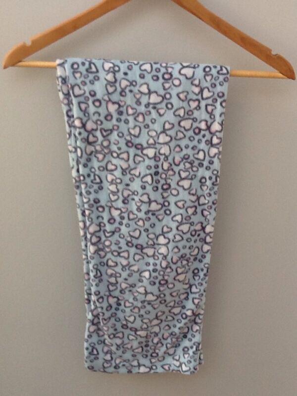 F&f Blue Heart Design Soft Fleece Lounge Pants. Uk6.