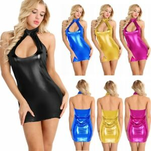 Womens-Sexy-Bandage-Bodycon-Leather-Look-Party-Casual-Dress-Nightwear-Mini-Skirt