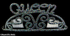 Tiara Queen Metal Sparkle Glitter Costume Tiara With Combs