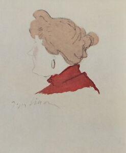 Jacques Villon (Según ) : Antigua Mujer De Perfil - Grabado Firmada, 1959