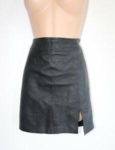 Women-039-s-Vintage-s-OLIVER-High-Waist-Short-Black-100-Leather-Skirt-Size-36-W26-034