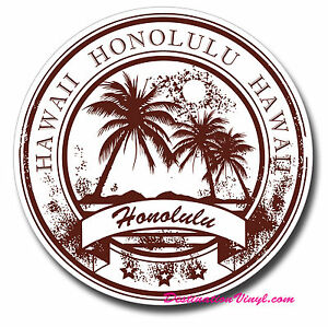 2 x 10cm Honolulu Hawaii Oahu Vinyl Sticker Travel Luggage Laptop Car Tag #6388