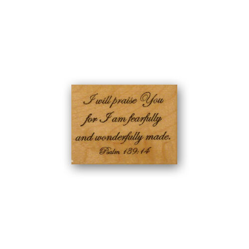 I am fearfully and wonderfully made mounted rubber stamp bible verse CMS #6