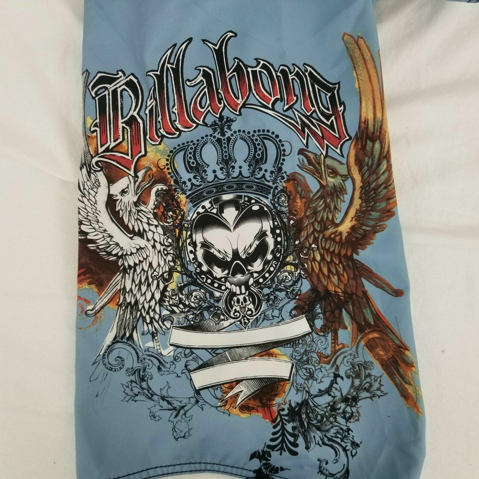 Men's BILLABONG Board Shorts Swim Trunks bluee & White w  Tattoo Design (Size 32)