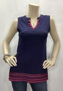 New-Crescent-Stitch-Fix-XS-Navy-Blue-Pink-Embroidered-Tank-Top-Sleeveless-Shirt