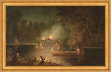 Fishing by Torch Light Paul Kane Indianer Kanu Kajak Fischen Nacht B A3 03020