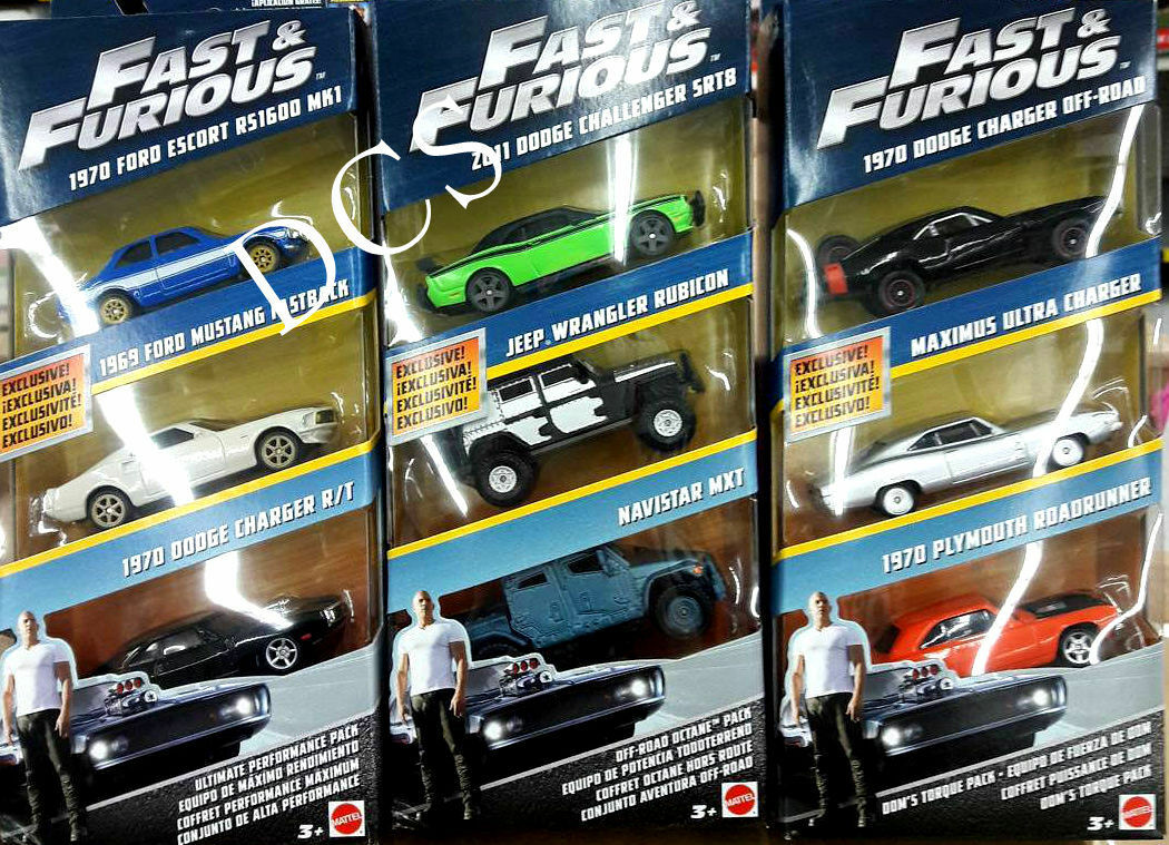 HOT WHEELS FAST & FURIOUS  9 CARS 3 SET 1 55 FORD DODGE JEEP FCG01-956A