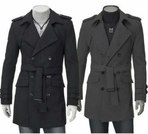Breasted Long Trench Fit Chic Winter Double Stylish Slim Men's Coat Jacket n0vgTB