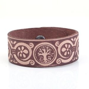 Tree-Of-Life-Leather-Bracelet-Cuff-Wristband-Men-Pagan-Viking-Jewelry-Women