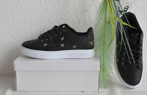 Sterne Sneaker 40 37 Gr Flach Damen Turnschuhe Schwarz Glitzer Pt66Hwq