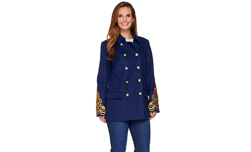 C Wonder 24w navy Double Breasted Peacoat with Lurex Embroidery Embroidery Embroidery b8c269