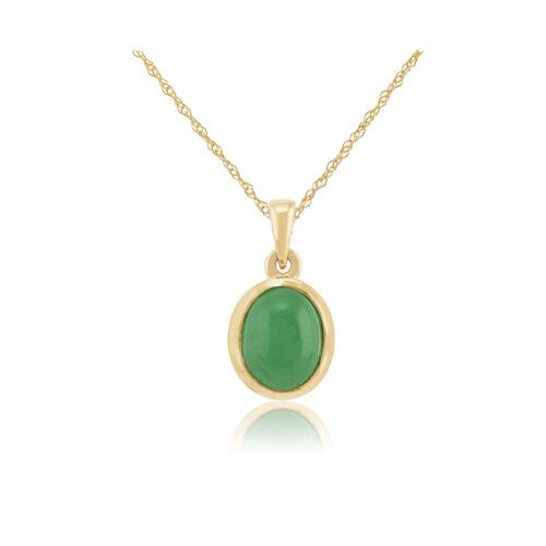 Gemondo 9ct Yellow Gold 2.53ct Jade Bezel Set Oval Pendant on 45cm Chain