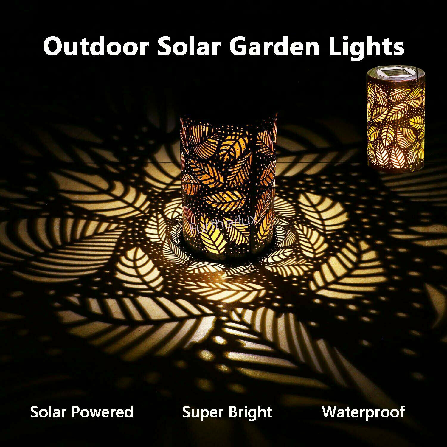 Solar Lantern Lights Outdoor Garden Hanging Lights Metal Leaf Pattern Path Decor