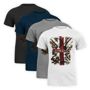 Men-Classic-Stretch-Cotton-Basic-Tee-Great-Britain-London-Casual-T-Shirt-Top