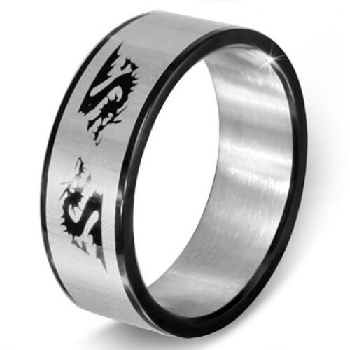 Details about  /Stainless Steel Black /& Silver Chinese Zodiac Dragon Flat Band Ring Sz 12   b87